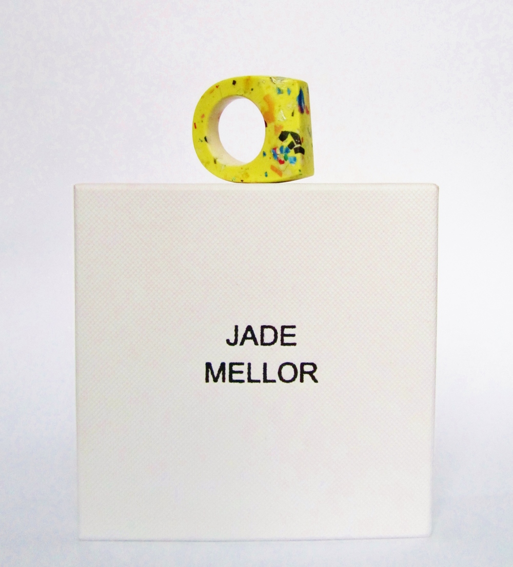 yellow contemporary jewellery resin bright colour hewn ring jade mellor art piece.JPG