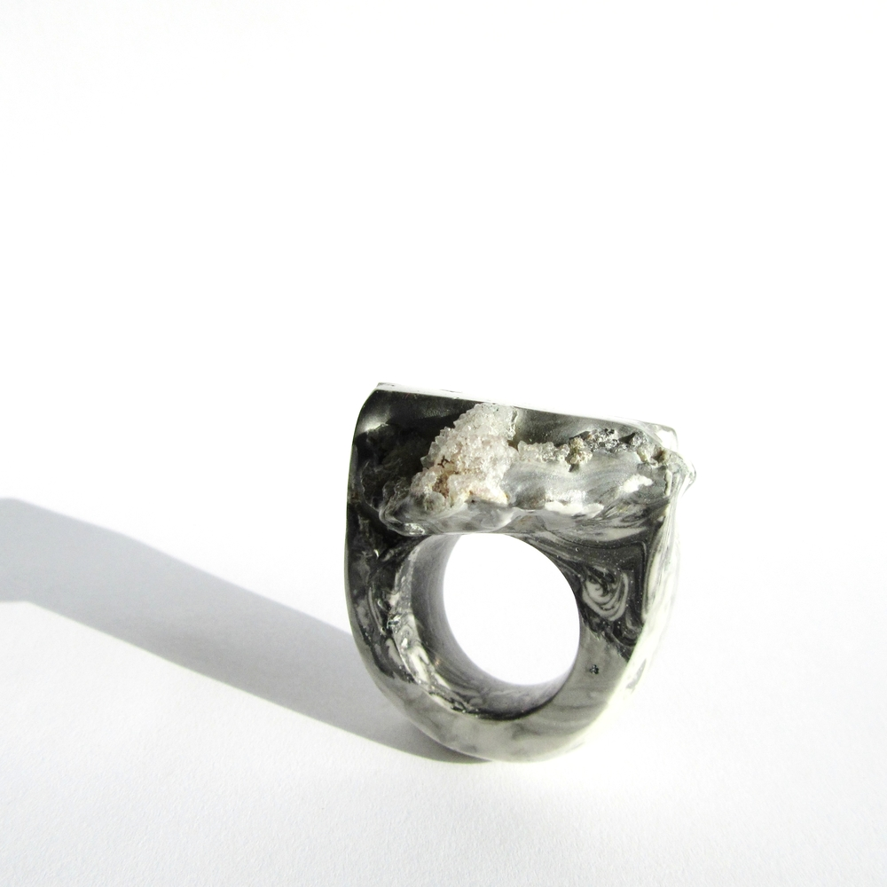 A new ring in the exhibition created around a quartz geode.