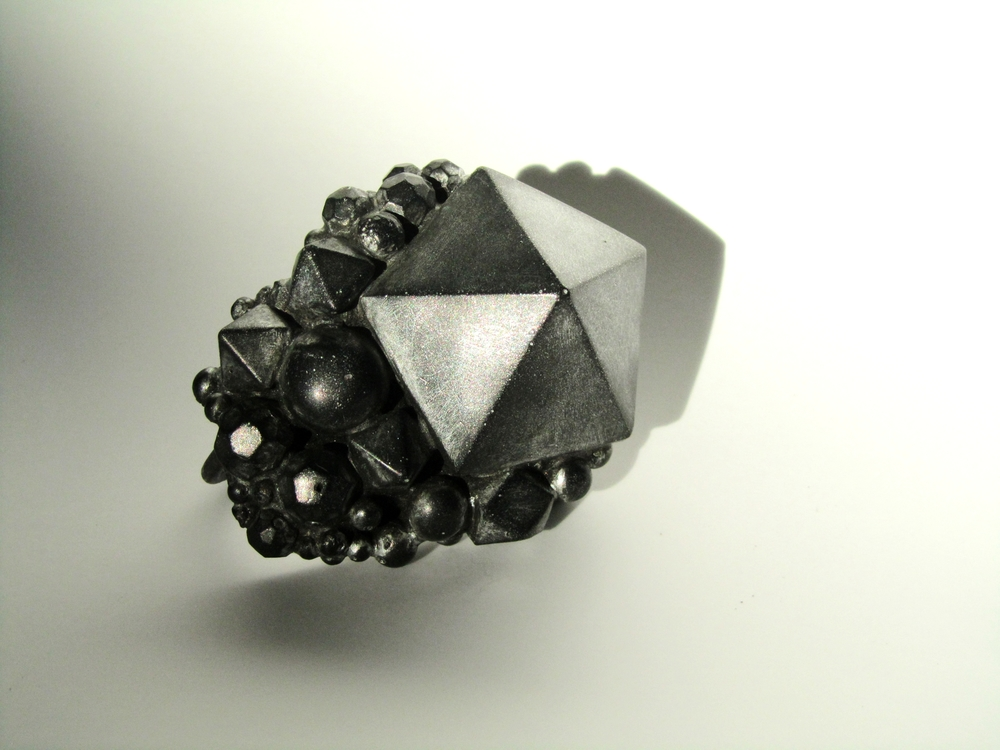 Nebula Ring 2011, As featured on Vogue China Oxidised silver, resin and metal dust by jewellery artist Jade Mellor.