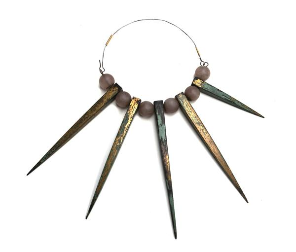 Bernhard Schobinger, Blitzableiterkette, 1990, necklace, copper, gold fire gilding, patina, rose quartz spheres, gold, stainless steel, photo: Gallery S O