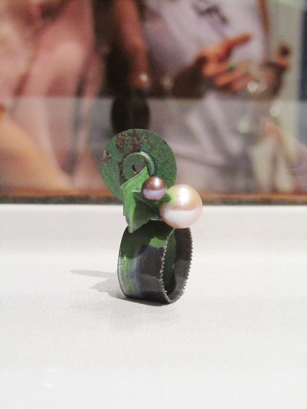 Pearls and saw blades, brought together in a Schobinger ring at Manchester Art Gallery.