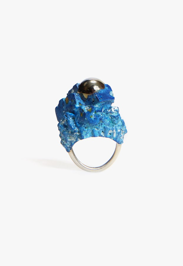 Unique resin, marble & sterling silver ring at Craft & Culture