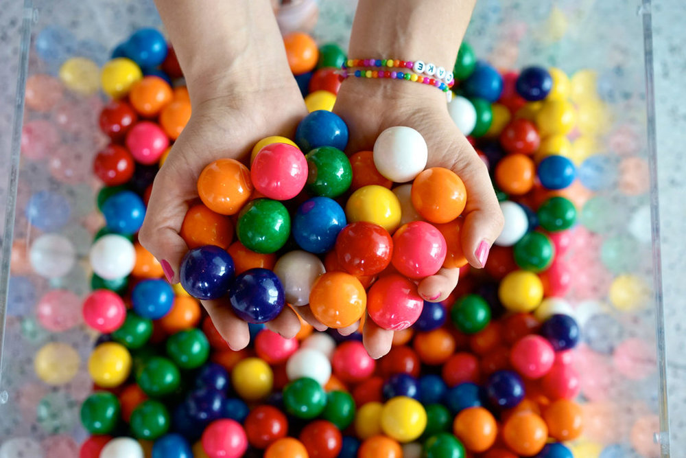 10000 Gumballs making up Amirah Kassem's installation at Brooklyn Museum's Artist's Ball. Photo courtesy of Tmagazine.