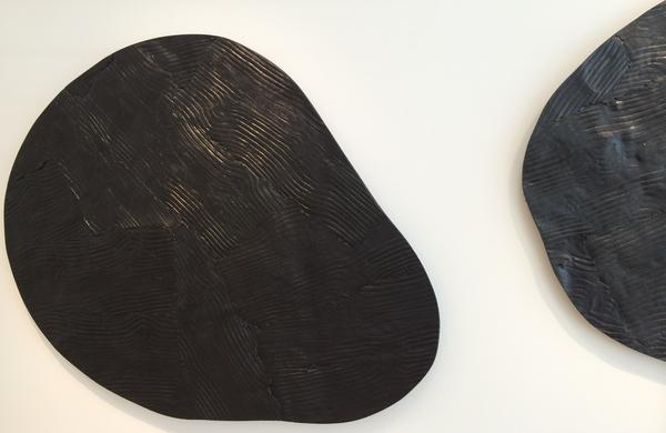 The textures of Peter Marigold's Wooden Tables, created using a repeated grain surface from a sample of wood.