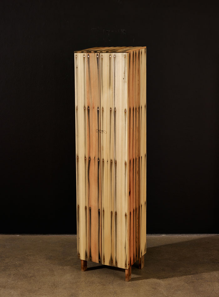 """Bleed"" series of locally ebonised cedar cabinets by Peter Marigold showing at Collect 2015 with Sarah Myerscough gallery."