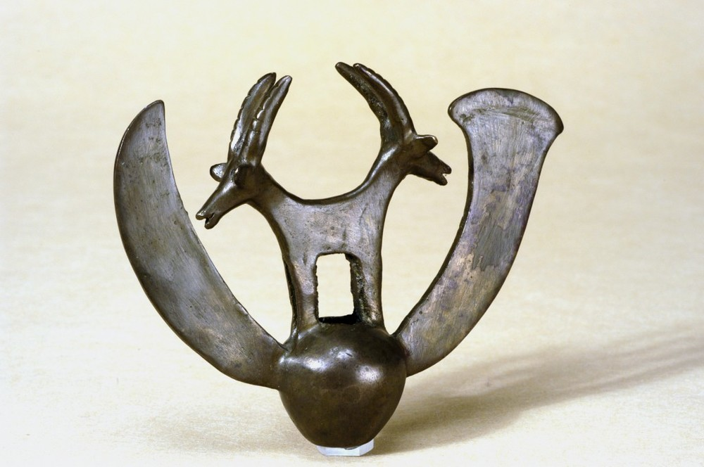 Double Ibex found in the hoard at Nahal Mishmar (courtesy of the Israel Museum via The Times of Israel website)