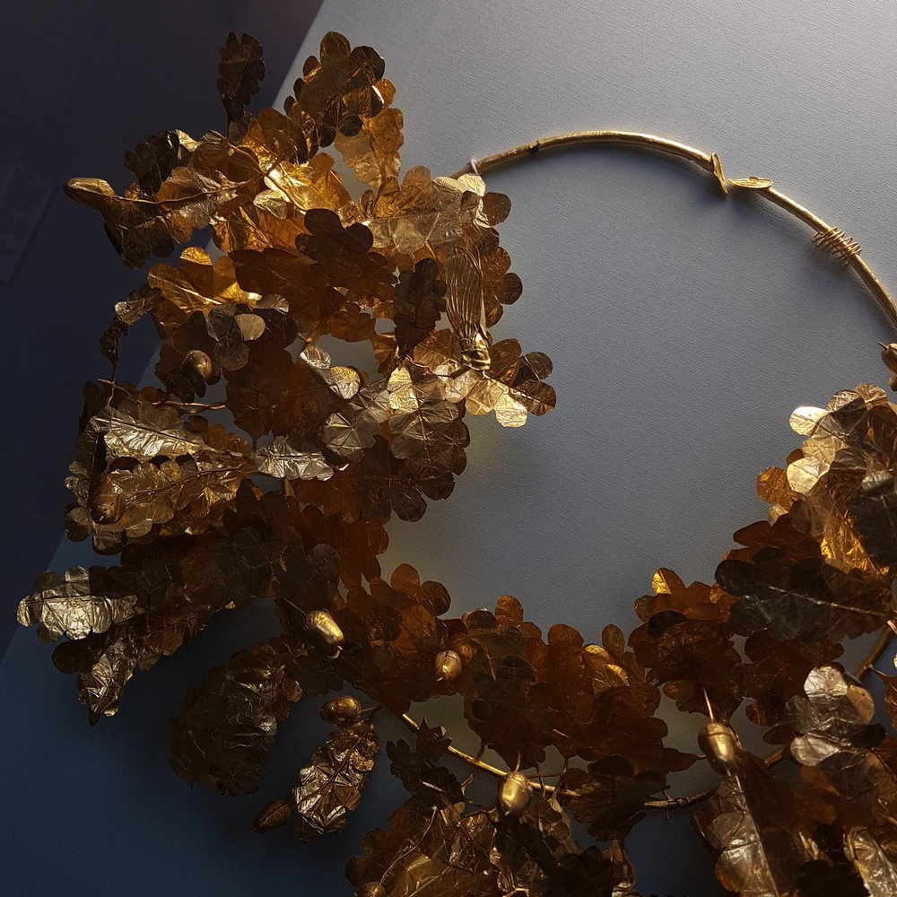 Ancient Greek Golden oak leaf crown in the British Museum