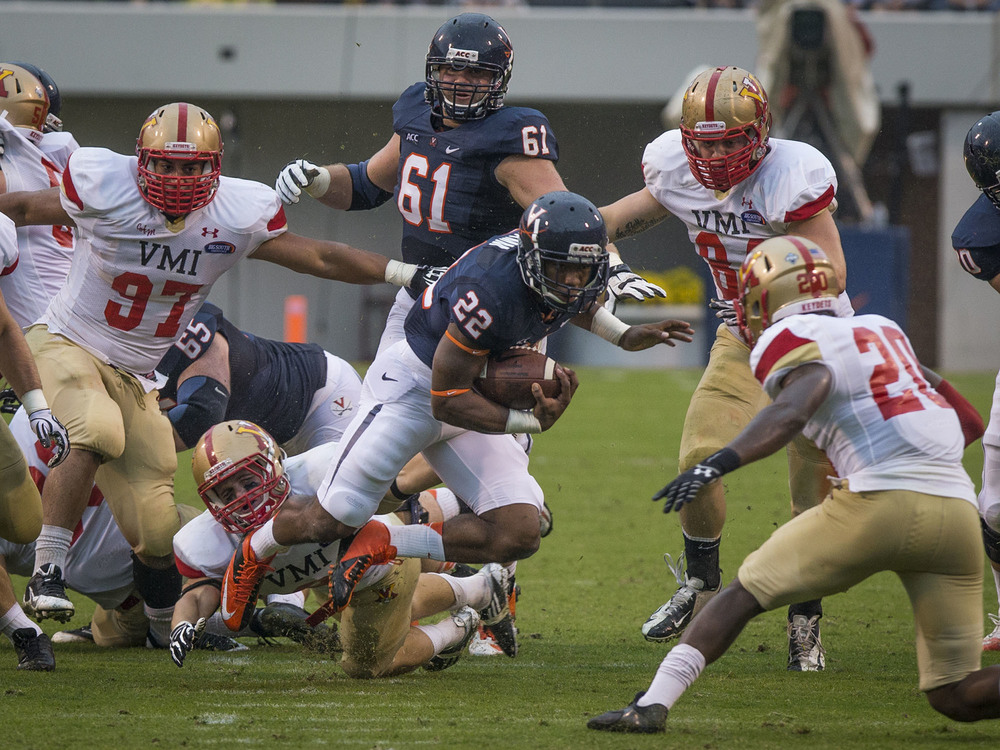 The U.Va. players in the study suffered the most frequent head impacts during games, but as the amount of padding increased during practices, so did the frequency and cumulative effect of head impacts.  (Photo: Sanjay Suchak)