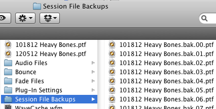A small sample of Session File Backups