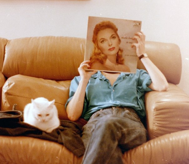 The author with a Julie London album in front of her face.