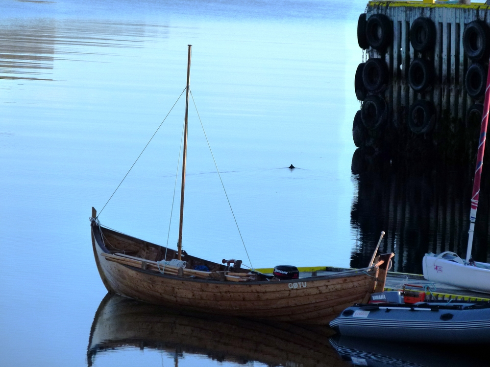 Our beautiful Óli Sófus, equipped with engine, sail and oars