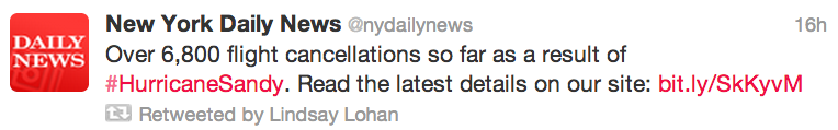 lindsay's # 1 news source is the world renowned NY Daily News