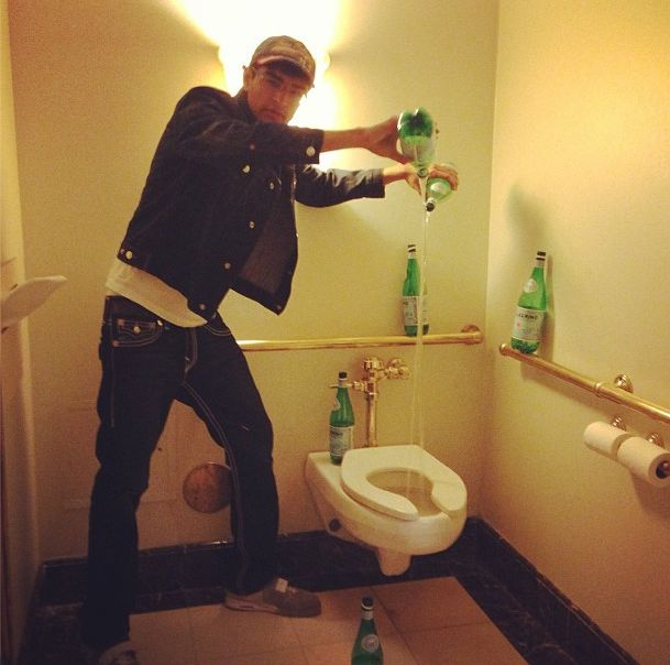...some just dump it down the toilet on a power move. Wow pouring Pellegrino down the toilet a whopping cost of $20..