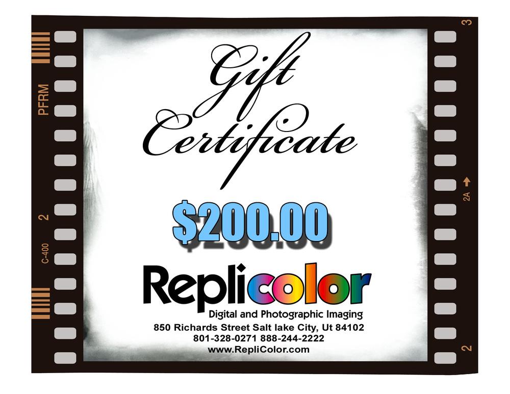 200 gift certificate self print replicolor photo lab