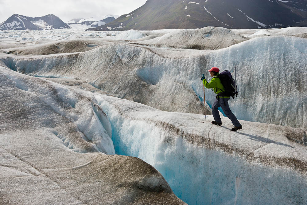 Navigating crevasses on Llewellyn Glacier.  Photo:  S. McGee