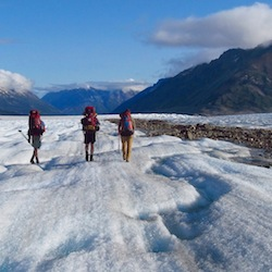 Hiking on Llewellyn Glacier en route to Atlin Lake, BC.  Photo:  B. Partan