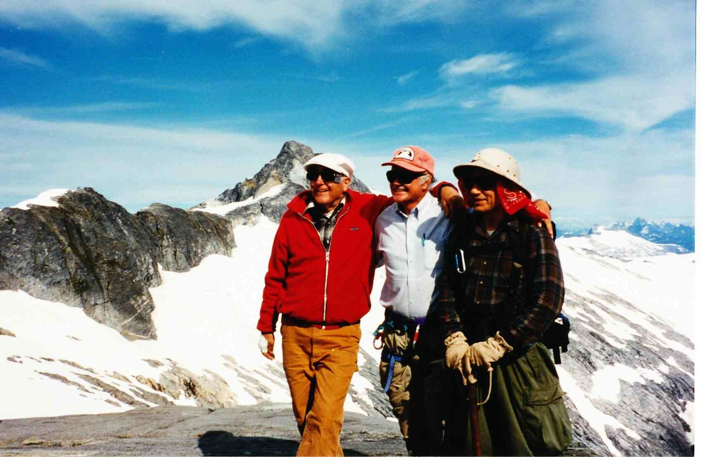 Drs. Maynard Miller, Richard Marston, and Alf Pinchak on 'Taku B' in July 1995.  Photo:  M. J. Beedle