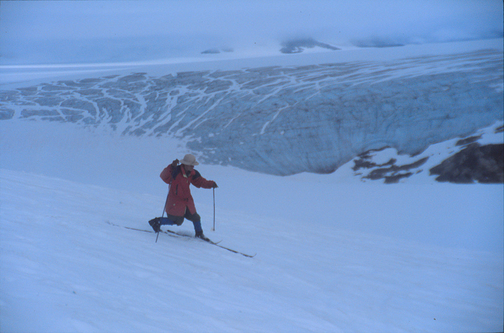 Dr. Alf Pinchak makes some early-morning turns at Camp 10, July 2004.  Photo:  M. J. Beedle