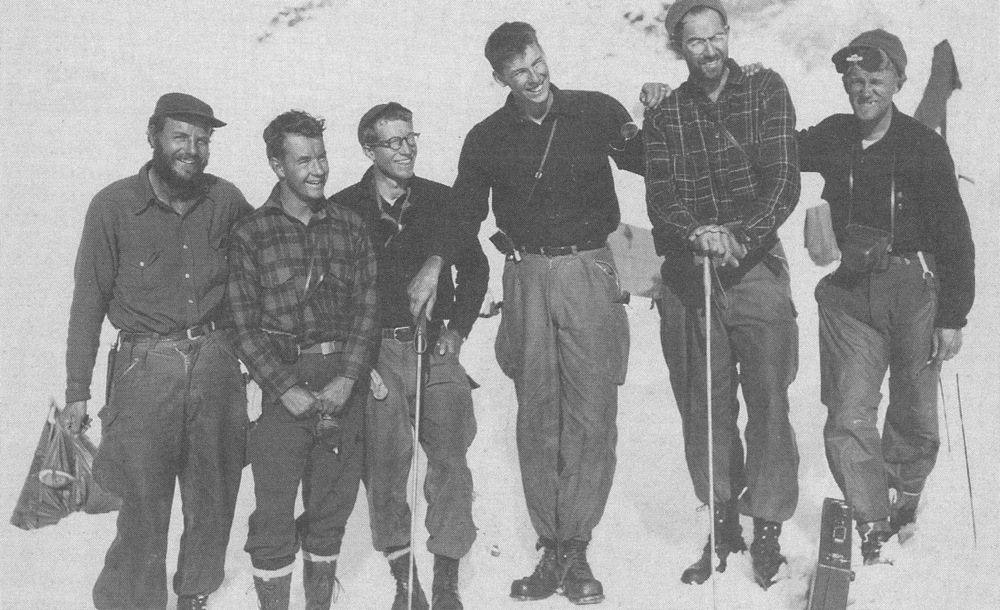 "Members of the first JIRP ""high ice"" expedition to the Juneau Icefield in the summer of 1948.  Left to right:  Maynard Miller, W. Laurence Miner, Lowell Chamberlain, Melvin G. Marcus, William A. Latady and Anthony W. Thomas.  Photo taken at Camp 4 on ""Hades Highway,"" the upper Twin Glaciers' neve.  Photo:  FGER Archives"
