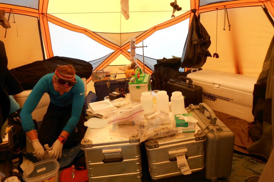 "Preparing for a day of sampling in the ever-lopsided ""Chem Tent."" Photo: E. Stevenson"