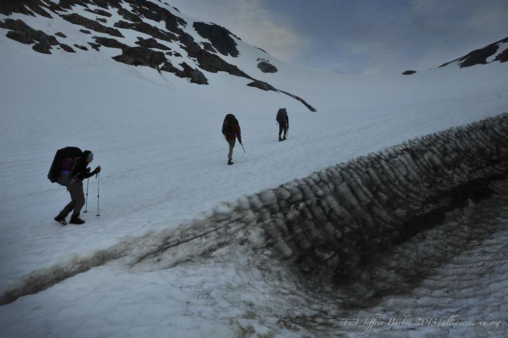 Beginning the climb up Ptarmigan Glacier to camp. Photo: J. Barbee