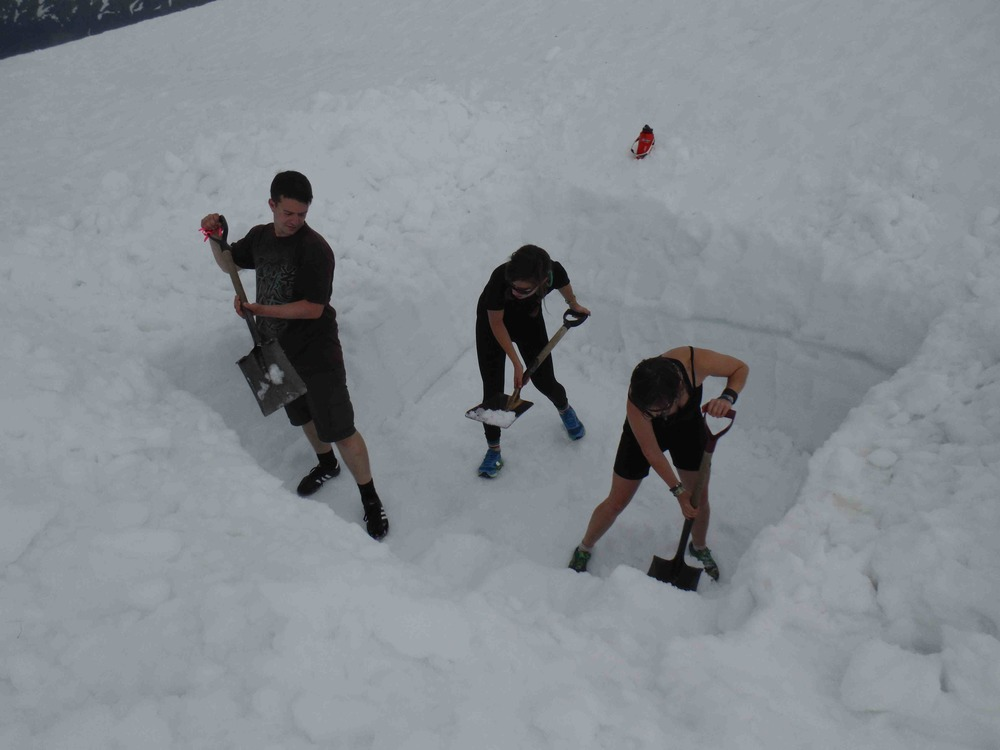"Christian Hein, Sarah Cooley, and Annie Cantrell digging the ""refrigerator"".  Photo:  S. Bouckoms"