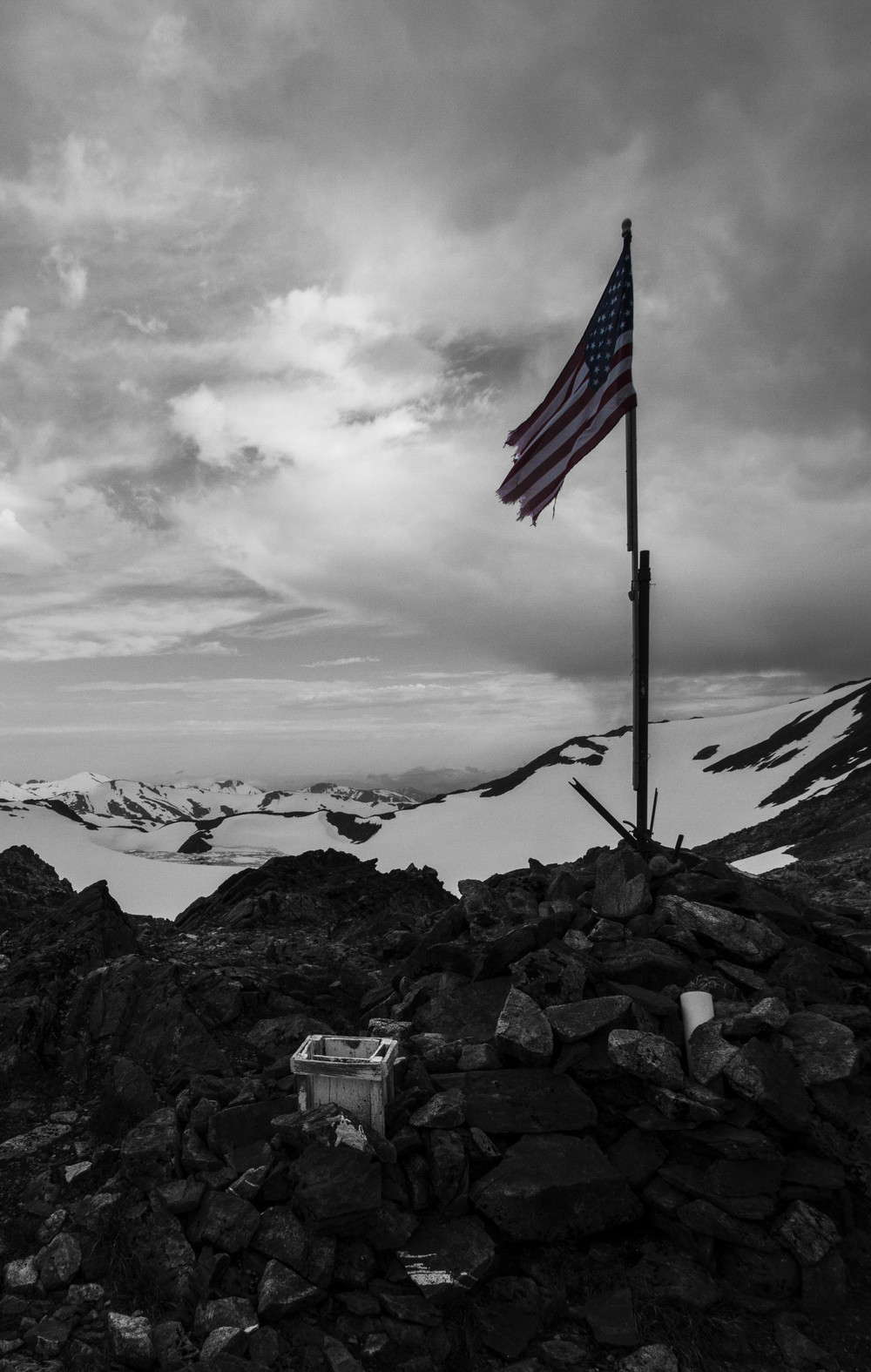 A patriotic view from atop Camp 17.  Photo:  Adam Taylor
