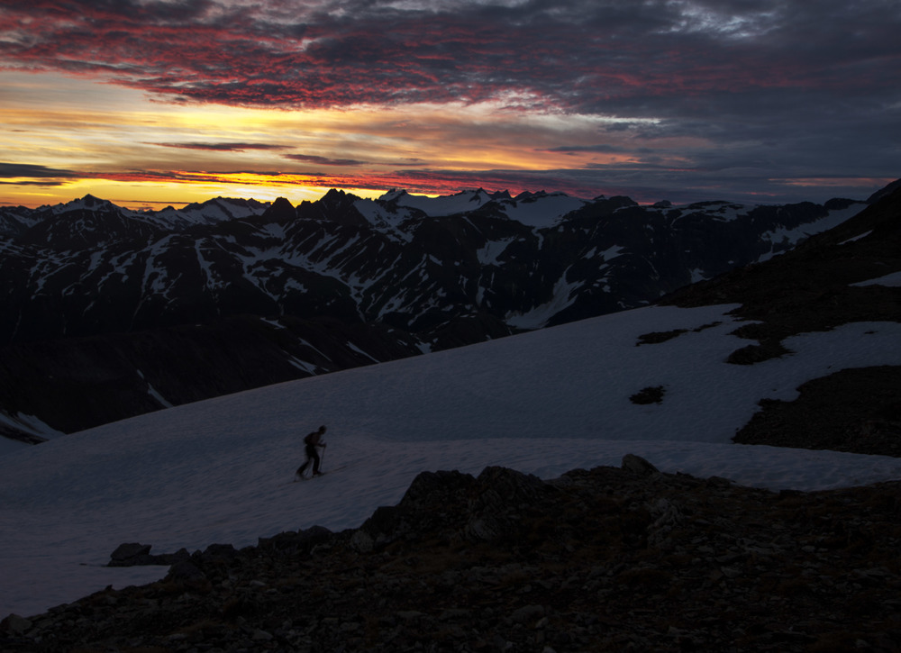 JIRP student Jon Doty making the most of the long days at Camp 17 with some evening skiing on Ptarmigan Glacier.  Photo:  Adam Taylor