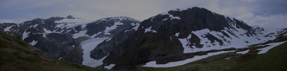 This panoramic view showcases the last climb JIRP students tackle on their way to Camp 17.  The termini of Thomas and Lemon Creek glaciers are at left, and the Ptarmigan Glacier - which JIRPers ascend to reach Camp 17 - is at far right.  Photo:  Adam Taylor