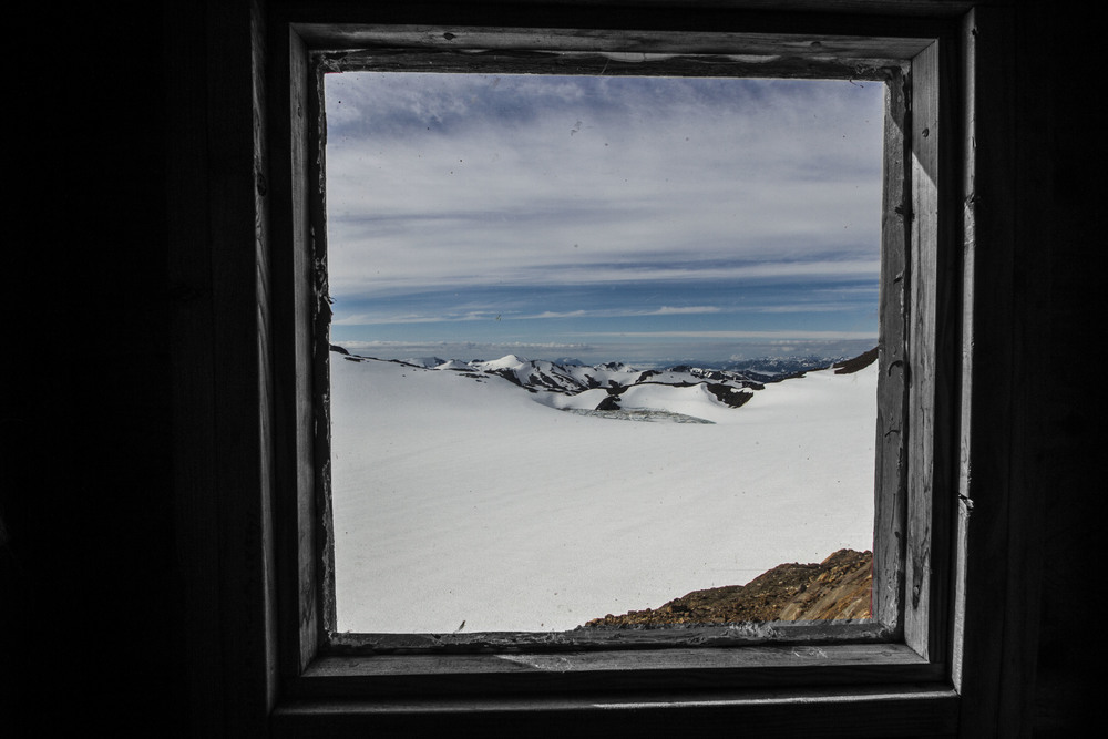 View from inside the outhouse at Camp 17.  Photo:  Adam Taylor