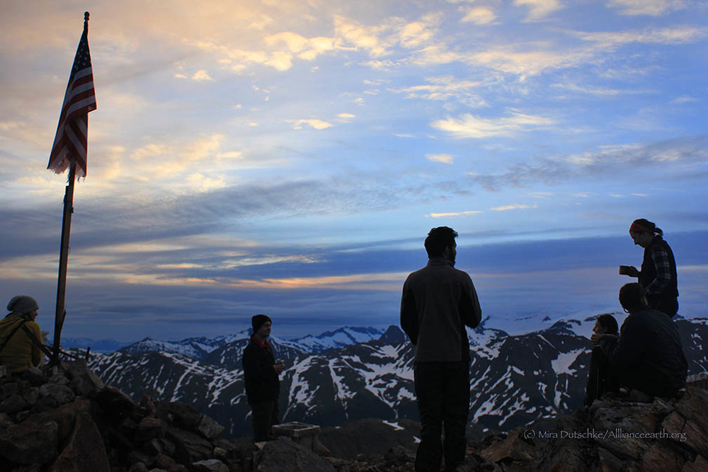 JIRP participants enjoy the view from Camp 17 at sunset.  Photo:  Mira Dutschke