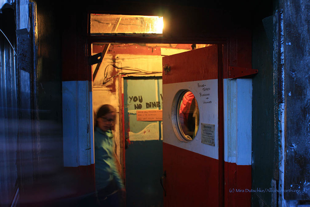 Stephanie Streich exits the Cook Shack at Camp 17.  Photo:  Mira Dutschke