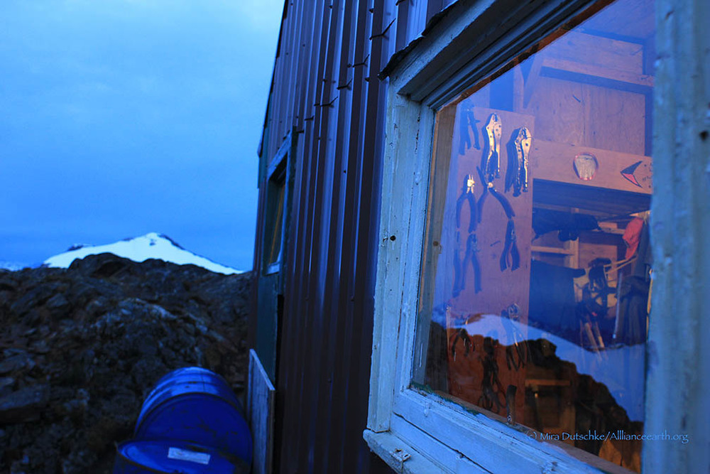 The Generator Shed at Camp 17, with Observation Peak beyond.  Photo:  Mira Dutschke