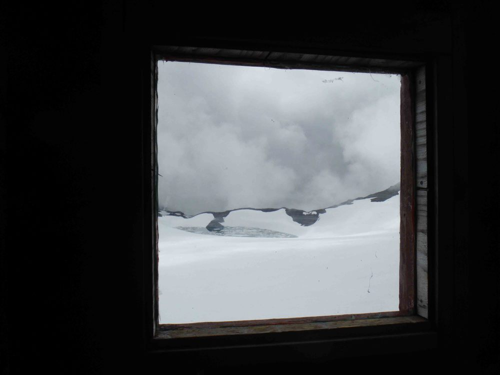 "The upper Lemon Creek Glacier and Lake Linda comprise the view from the ""Double Wide"" at Camp 17.  Photo by Sarah Bouckoms"