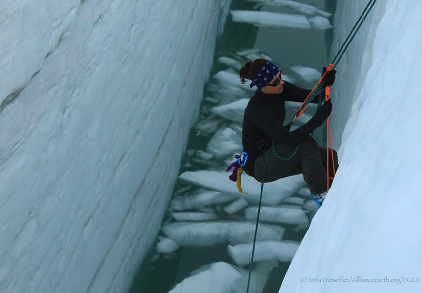 To get up the rope and out of the crevasse we use a waist and a leg prussik.  Jame Bradshaw here heads up and out of the crevasse.   Photo by Mira Dutschke