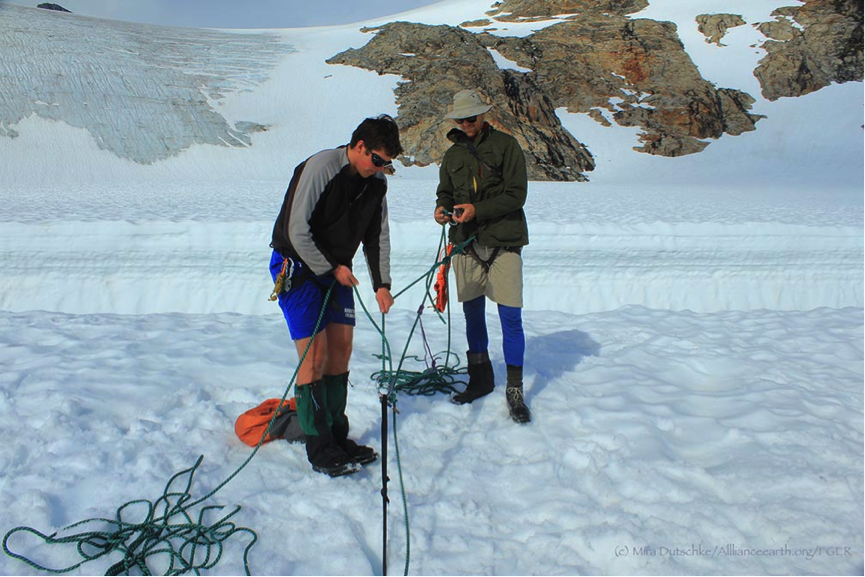 Matt Pickart and Jeffrey Barbee, two experienced staff members, setting up the ropes and the backup.  Safety comes first!  Photo by Mira Dutschke