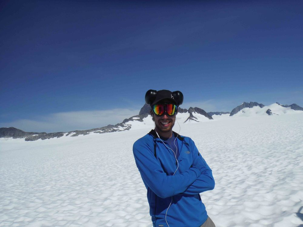 Author Adam Toolanen on a sunny day on the Icefield. Photo by Jeff Kavanaugh