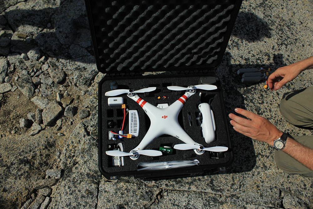 The quadcopter packed away for safe transport.  Photo by Mira Dutschke.