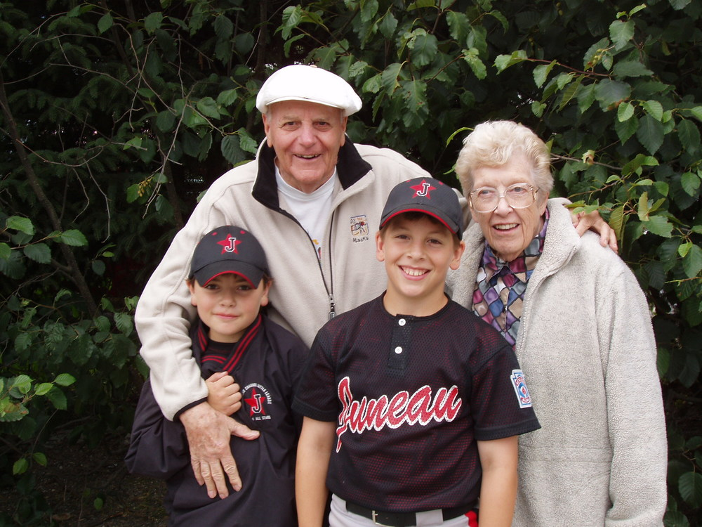 Joan and Maynard Miller with grandsons Zach and Logan.  Photo by Lance Miller.