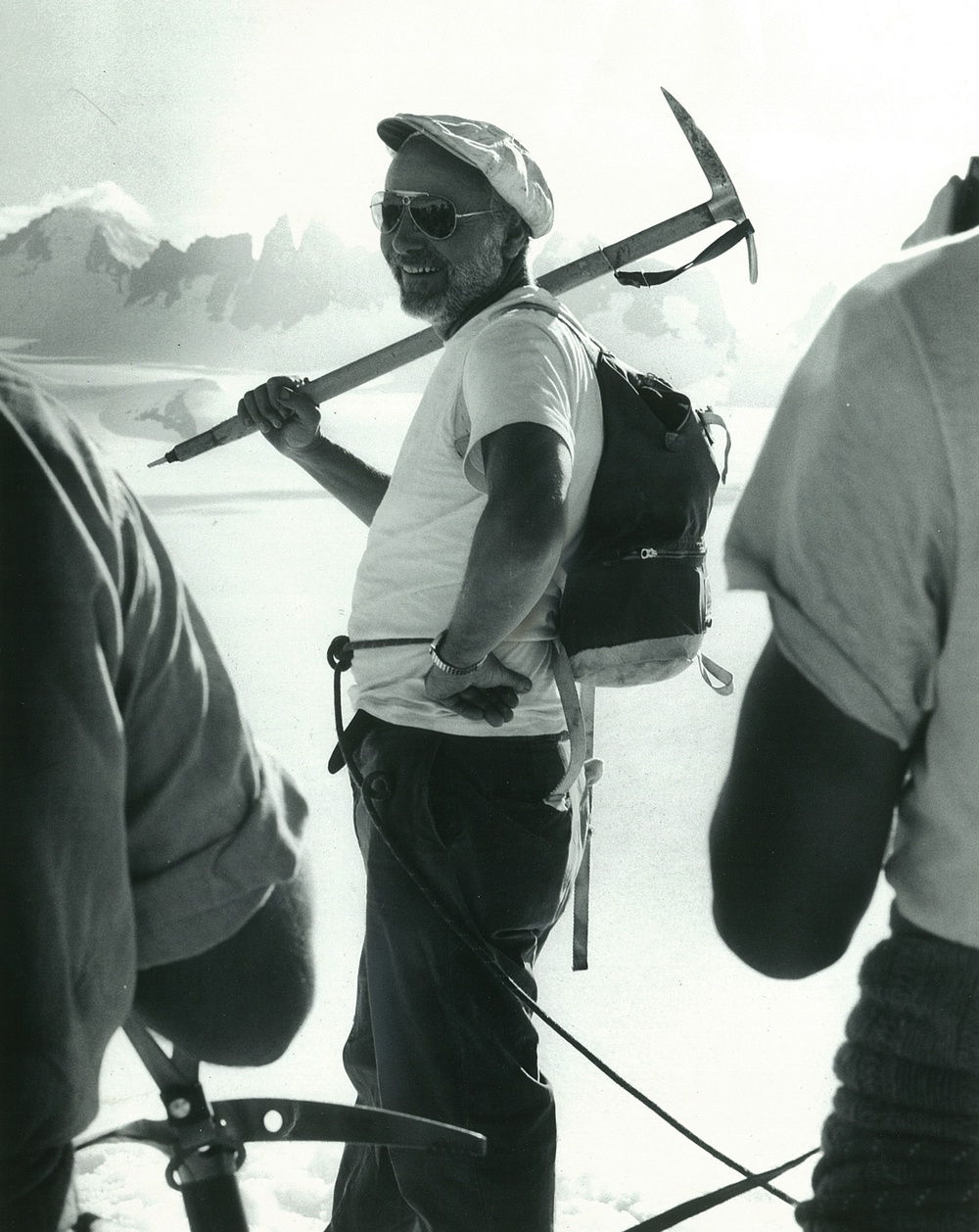 Dr. Maynard Miller on the Juneau Icefield.  Photo courtesy of the Miller family.