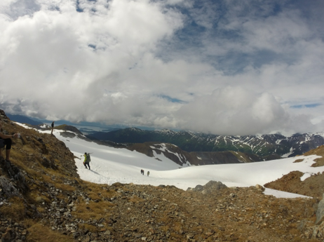 "Looking down the ""Gnarmigan"" glacier"