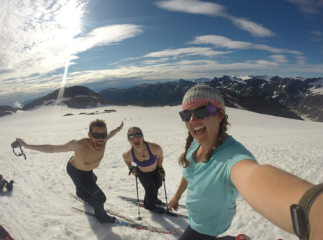 French Alex, Hannah, and Kim during ski practice on the Ptarmigan on a beautiful day