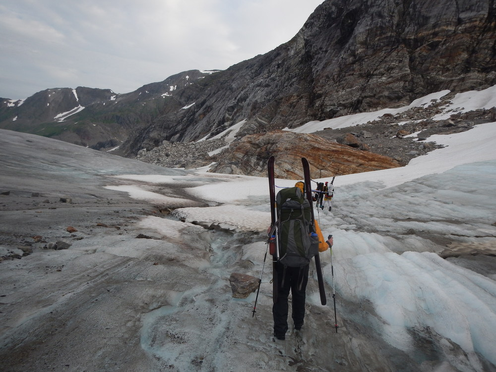 Crossing the ice on the Lemon Creek glacier.  Photo by Elizabeth Kenny