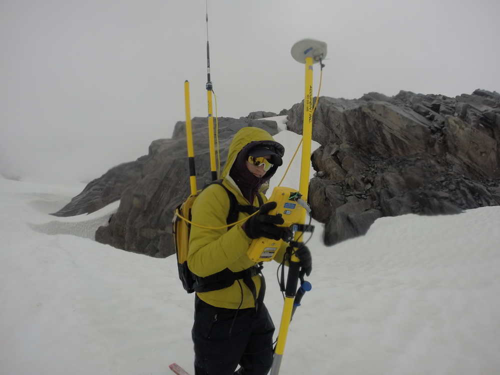 Kelly taking measurements on the Lemon Creek glacier