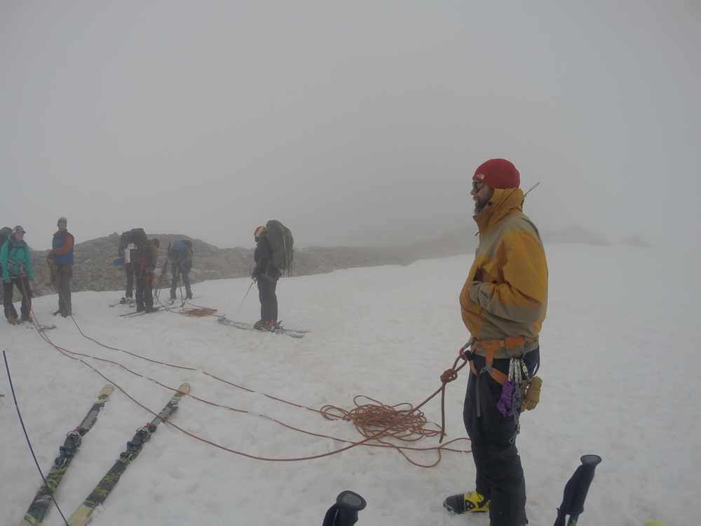 Getting roped up in the clouds at the top of Nugget Ridge.