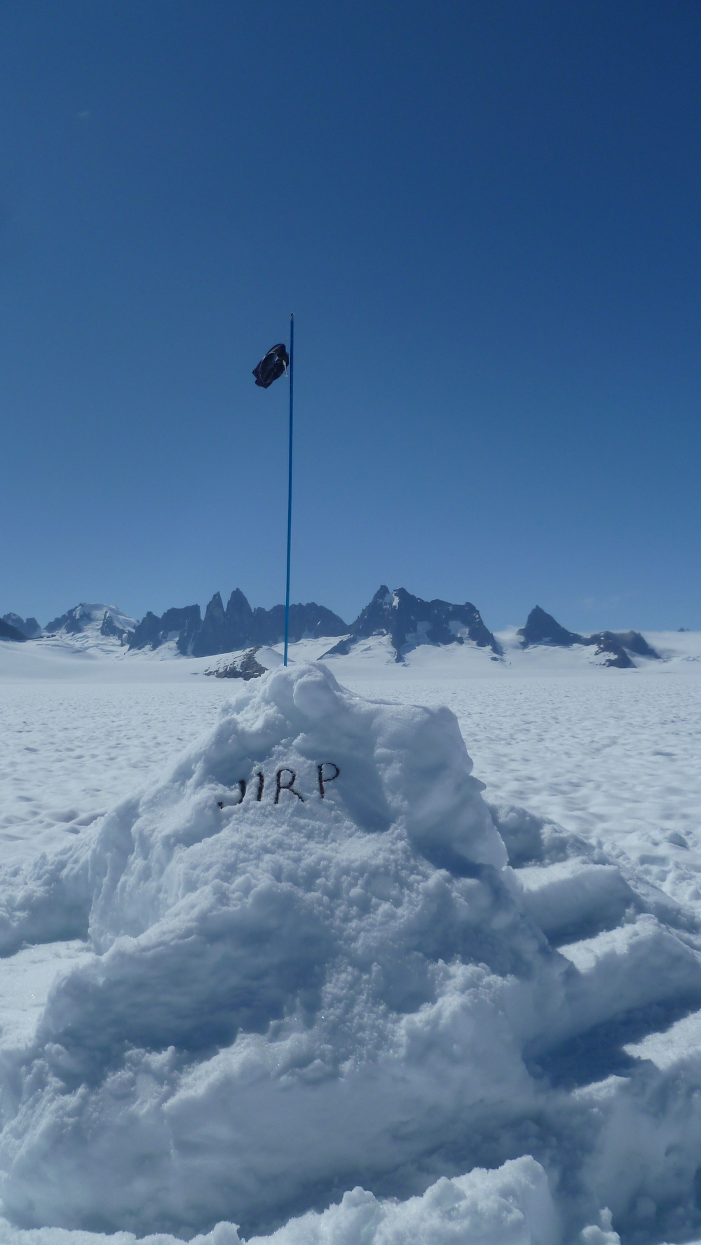 The JIRP mass balance snow throne.  photo by Danielle B.