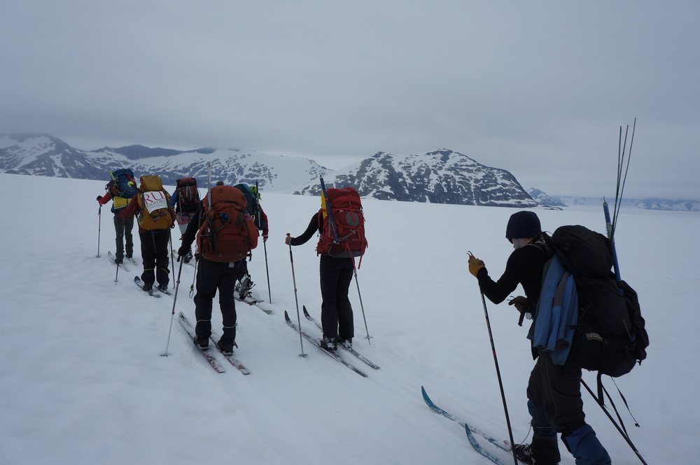 Skiing across the Taku glacier