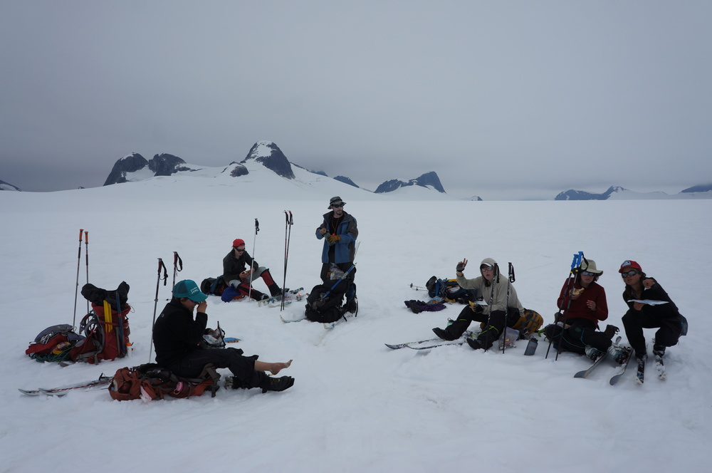 Taking a break during the traverse