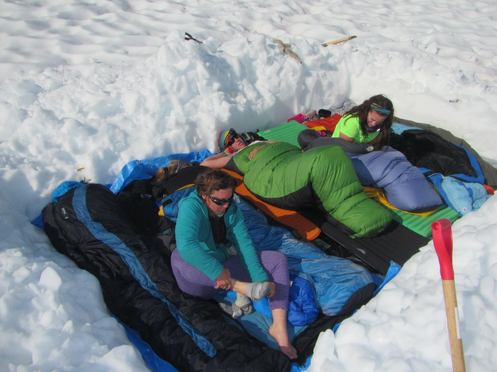 Hannah, Danielle, Carmen, and Laurissa wake up in the snuggle pit after a good night's sleep.  photo by Gillian Rooker