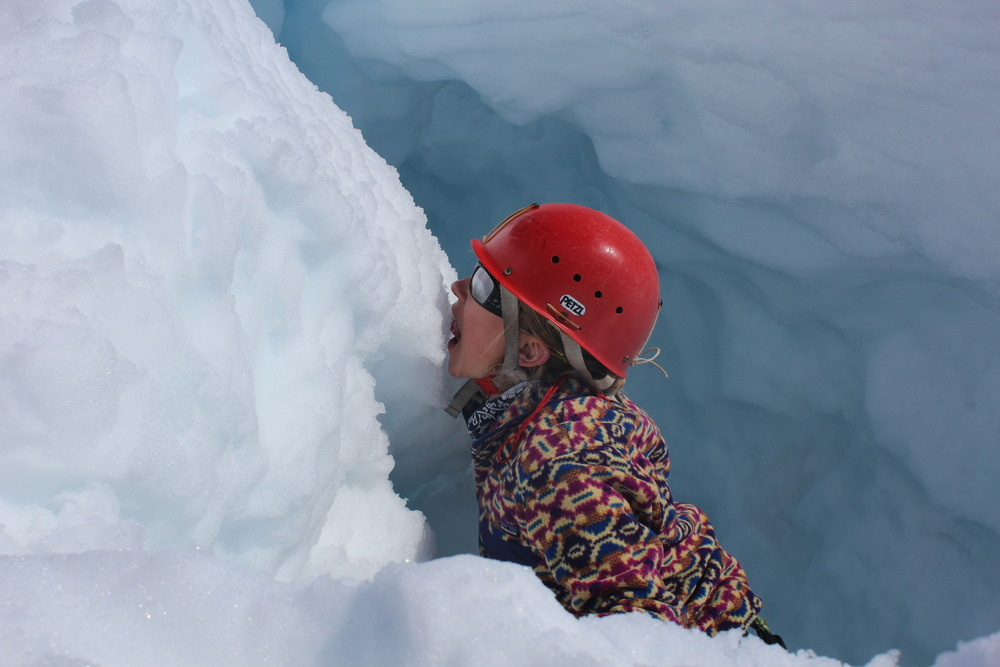 Lindsey gets a little hungry during her adventure in the crevasse.